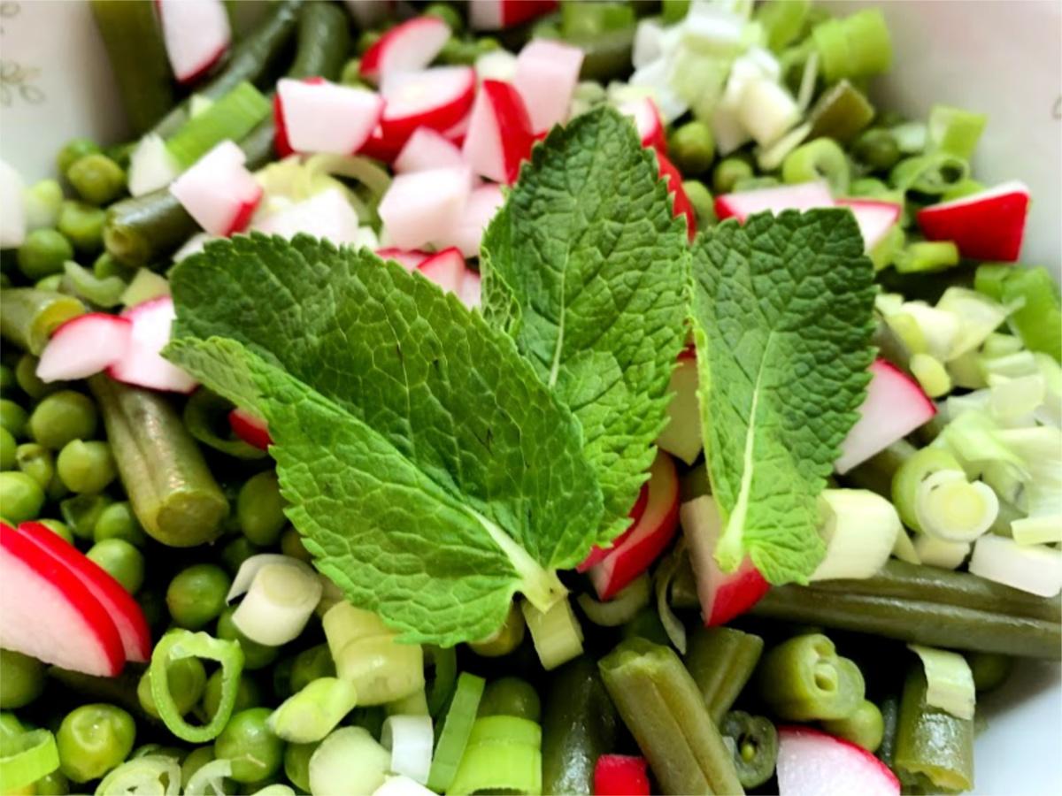 oosterse groene salade radijs munt