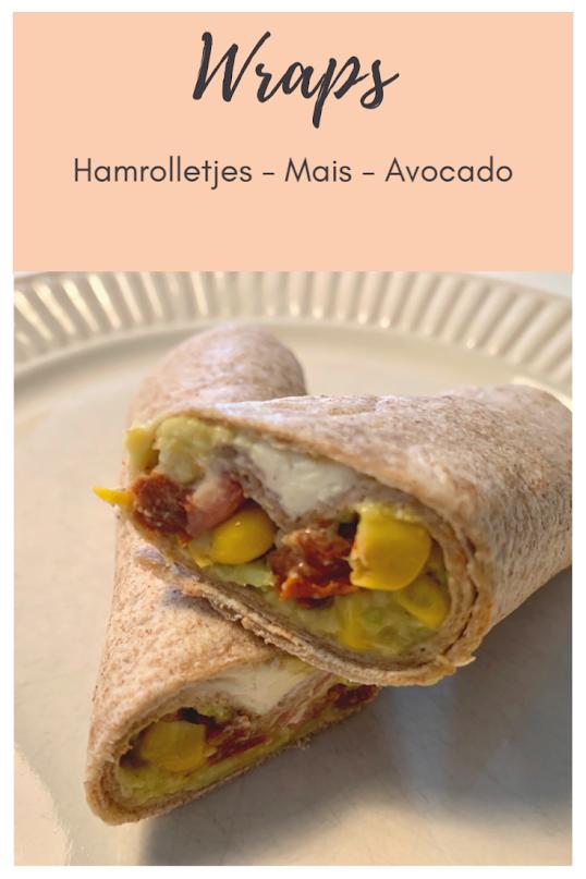 wraps met hamrolletjes en avocadospread pinterest